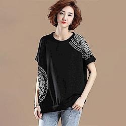 初色  簡約印花短袖上衣-黑色-(M-2XL可選)