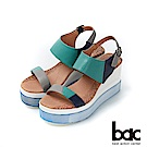 bac加州陽光-異國風情拼色皮革厚底台涼鞋-綠色