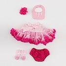 日安朵朵 女嬰童蓬蓬裙彌月週歲禮盒組 - 豪華小公主櫻花(裙+圍兜+屁屁褲+寶寶襪)