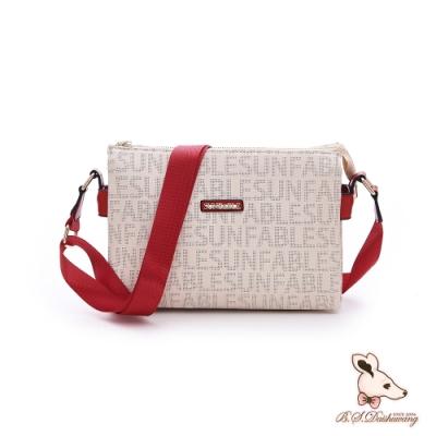 SUNFABLE - 日光PARTY - 品牌印花多格層斜背包 - 魅惑紅