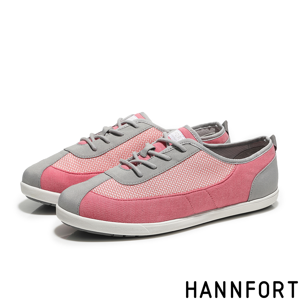 HANNFORT CALIFORNIA細緻網花純棉帆布鞋-活力粉
