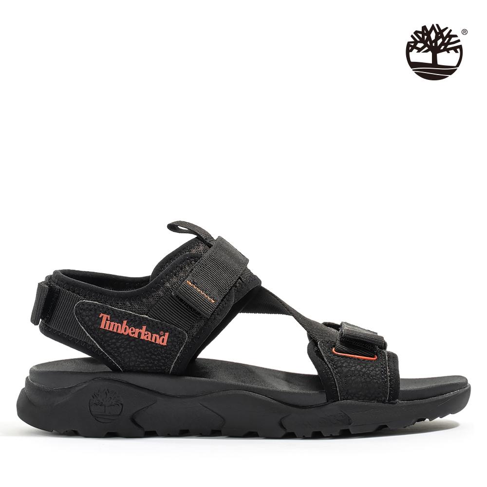 Timberland 男款黑色魔鬼貼織帶涼鞋 A2AE1