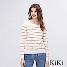 KiKi INLook 刺繡小花條紋針織上衣(白色)