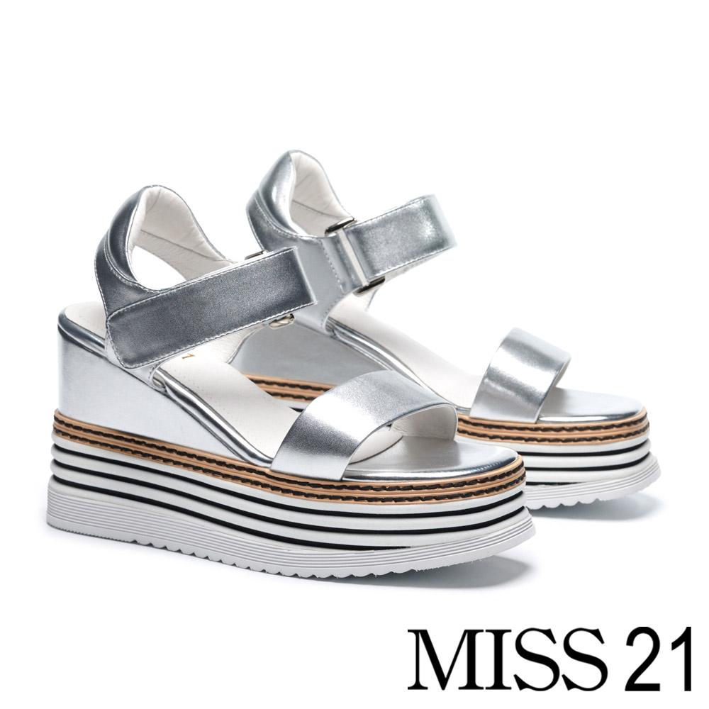 涼鞋 MISS 21 極簡率性一字帶層次厚底牛皮楔型涼鞋-銀