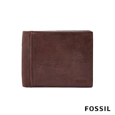 FOSSIL INGRAM 咖啡色真皮RFID短夾 男