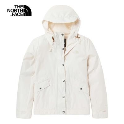 The North Face北面女款米白色防潑水防風連帽外套|5AYDN3N