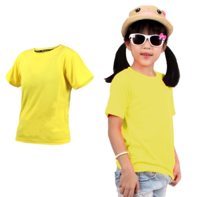 HODARLA FLARE 100 男女童裝吸濕排汗衫-T恤 短T 透氣 慢跑 路跑 3135903 黃