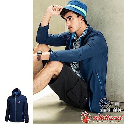Wildland 荒野 0A71906-72深藍色 男彈性透氣抗UV輕薄外套