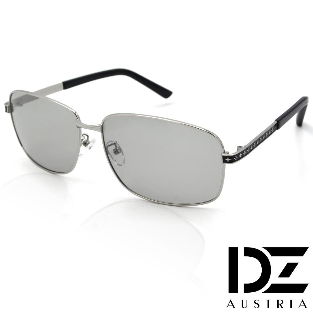 DZ 復古十字騰變色片 抗UV 偏光 太陽眼鏡墨鏡(銀框)