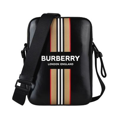 BURBERRY白字LOGO滑面帆布條紋設計拉鍊斜背方包(黑)