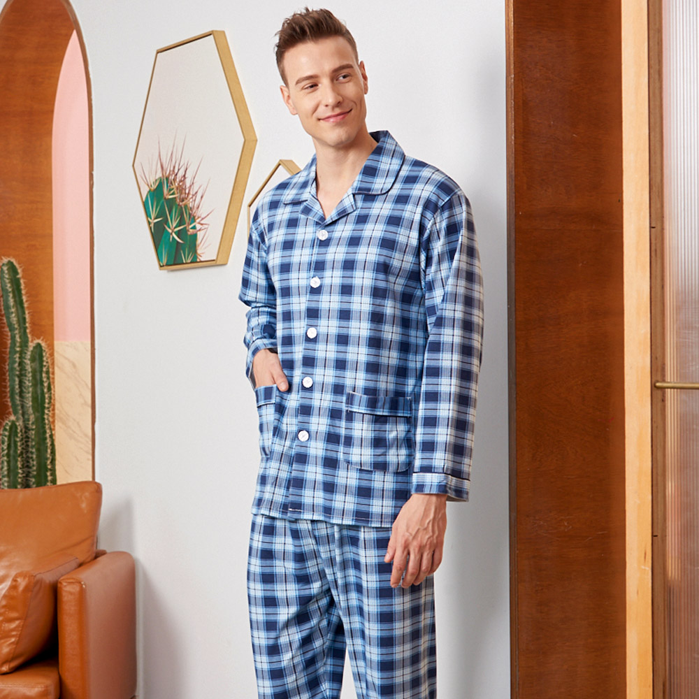睡衣 時尚英倫格紋 針織棉男性長袖兩件式睡衣(R78221-10深藍) 蕾妮塔塔 @ Y!購物