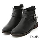 D+AF 熱銷指定.簡約單釦環內增高短靴*黑