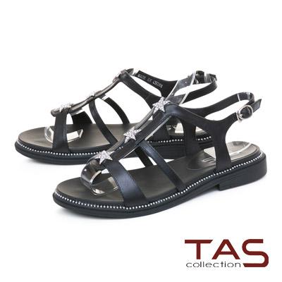 TAS星星水鑽質感T字涼鞋-低調黑