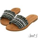 Ann'S水洗牛皮-名品風流蘇亮片珍珠平底涼拖鞋-黑