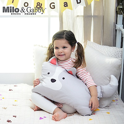 Milo&Gabby動物好朋友-超細纖維防蹣抗菌mini枕心枕套組(ROY狗狗)