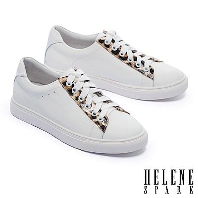 休閒鞋 HELENE SPARK 簡約質感豹紋點綴全真皮厚底休閒鞋-白