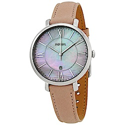 FOSSIL 珍珠流光羅馬數字皮革女錶(ES4151)-36mm