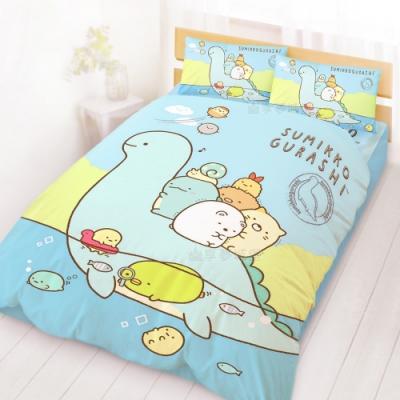 享夢城堡 雙人床包涼被四件組-角落小夥伴 恐龍世紀-藍