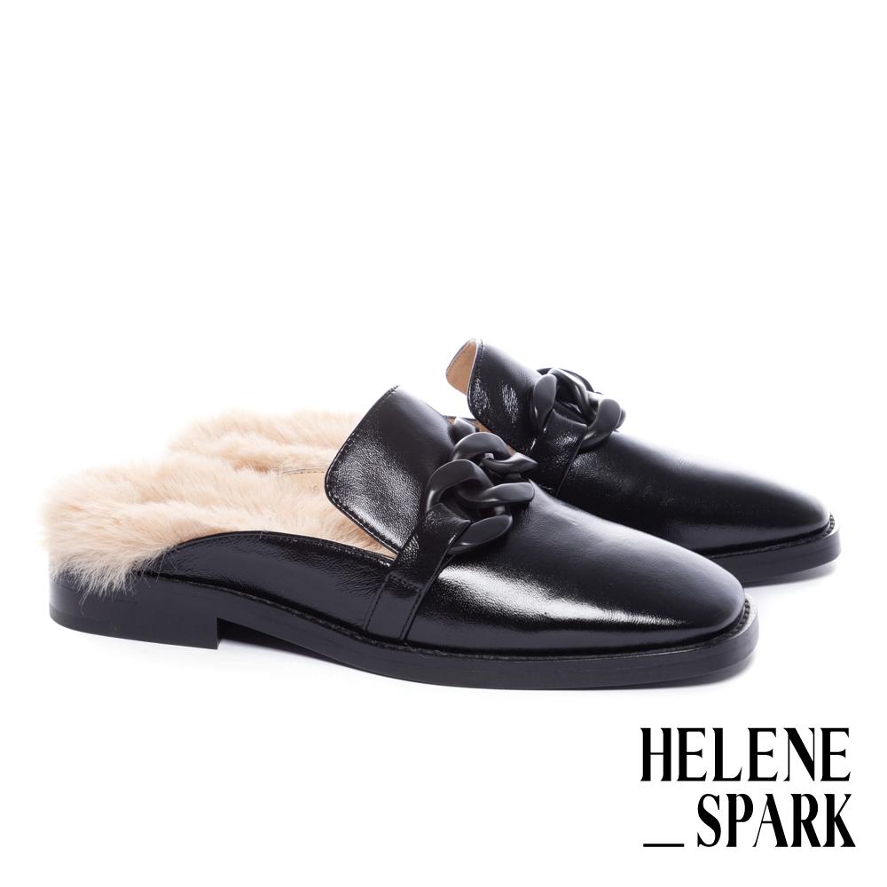 穆勒鞋 HELENE SPARK 復古時髦粗鏈毛毛方頭低跟穆勒拖鞋-黑