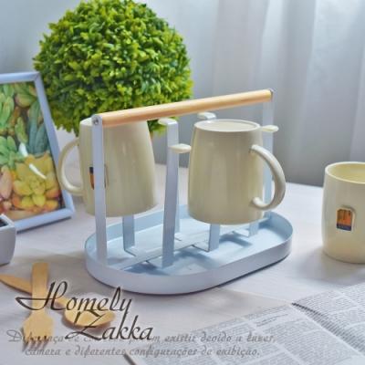 Homely Zakka-日式簡約工藝鐵製杯架附帶瀝水托盤/杯子置物架
