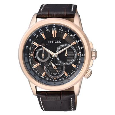 CITIZEN 王者榮耀三眼計時光動能腕錶(BU2023-12E)-金框黑x深咖啡皮帶