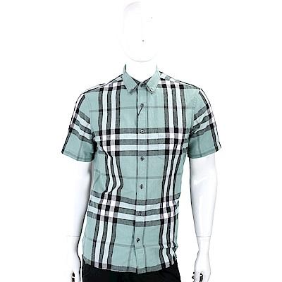 BURBERRY 格紋棉麻混紡短袖襯衫(男款/綠色)