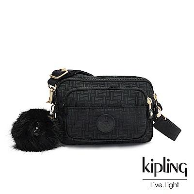 Kipling黑色幾何紋路兩用腰間側背包-MULTIPLE