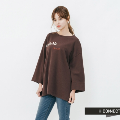 H:CONNECT 韓國品牌 女裝-休閒寬版印字T-Shirt-棕