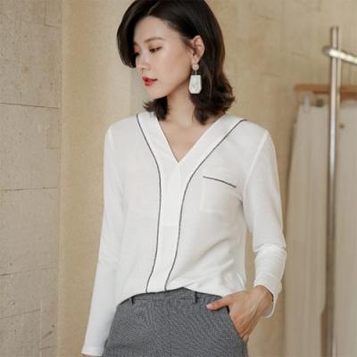 設計所在Lady-針織衫長袖V領毛衣時尚內搭(二色S-XL可選)