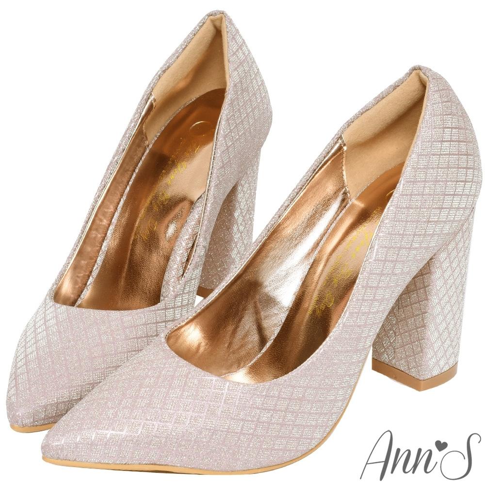 Ann'S閃耀光彩-名媛菱格紋粗跟高跟尖頭鞋-金