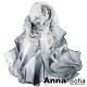 AnnaSofia 魅染荷花 軟柔雪紡 仿蠶絲領巾絲巾圍巾(灰黑系) product thumbnail 1