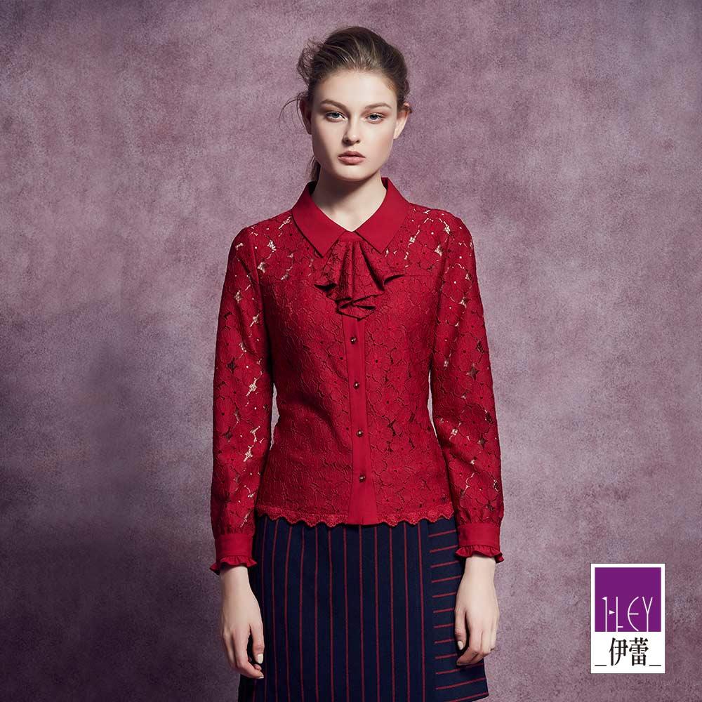 ILEY伊蕾 甜美蕾絲荷葉領巾上衣(紅)