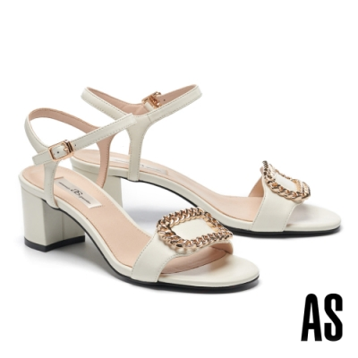 涼鞋 AS 個性時尚金屬飾釦繫帶全羊皮一字高跟涼鞋-白
