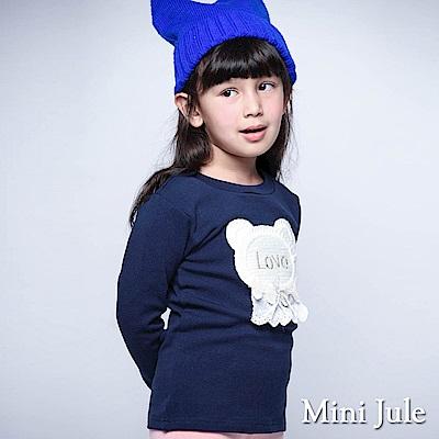 Mini Jule 上衣  蕾絲熊熊造型字母刺繡長袖上衣(寶藍)