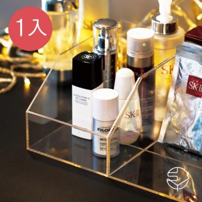 日本霜山 無分隔透明壓克力/冰箱/桌上/化妝品小物收納盒-1入
