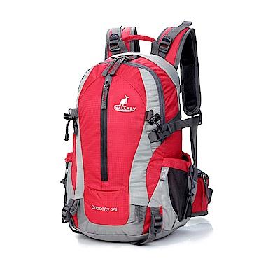 WALLABY 袋鼠牌 戶外旅行 登山包 雙肩包 尼龍 防水運動背包 【紅色 25L】