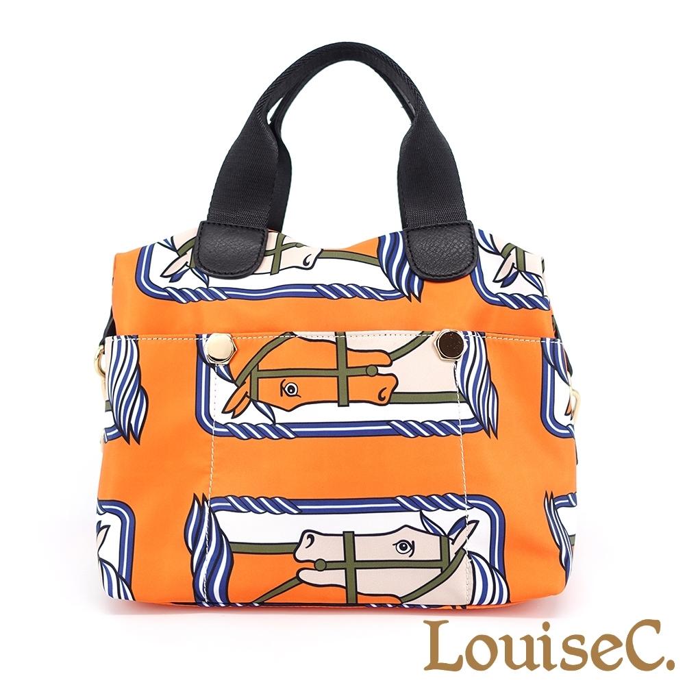 【 Tree House 】LouiseC. 真牛皮+輕盈尼龍前後六插袋中型手提斜背包(橘色馬) YS98151-11