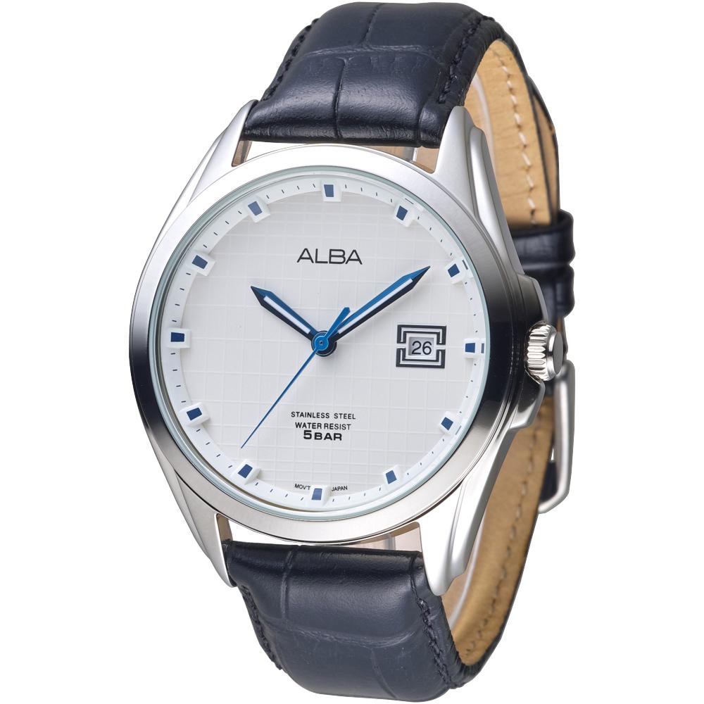 ALBA雅柏手錶 英倫情人紳士風男錶-真皮錶帶-白(AS9C85X1)/44mm 保固二年