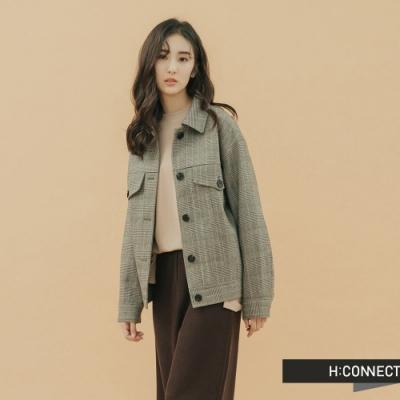 H:CONNECT 韓國品牌 女裝-率性格紋排扣外套-灰