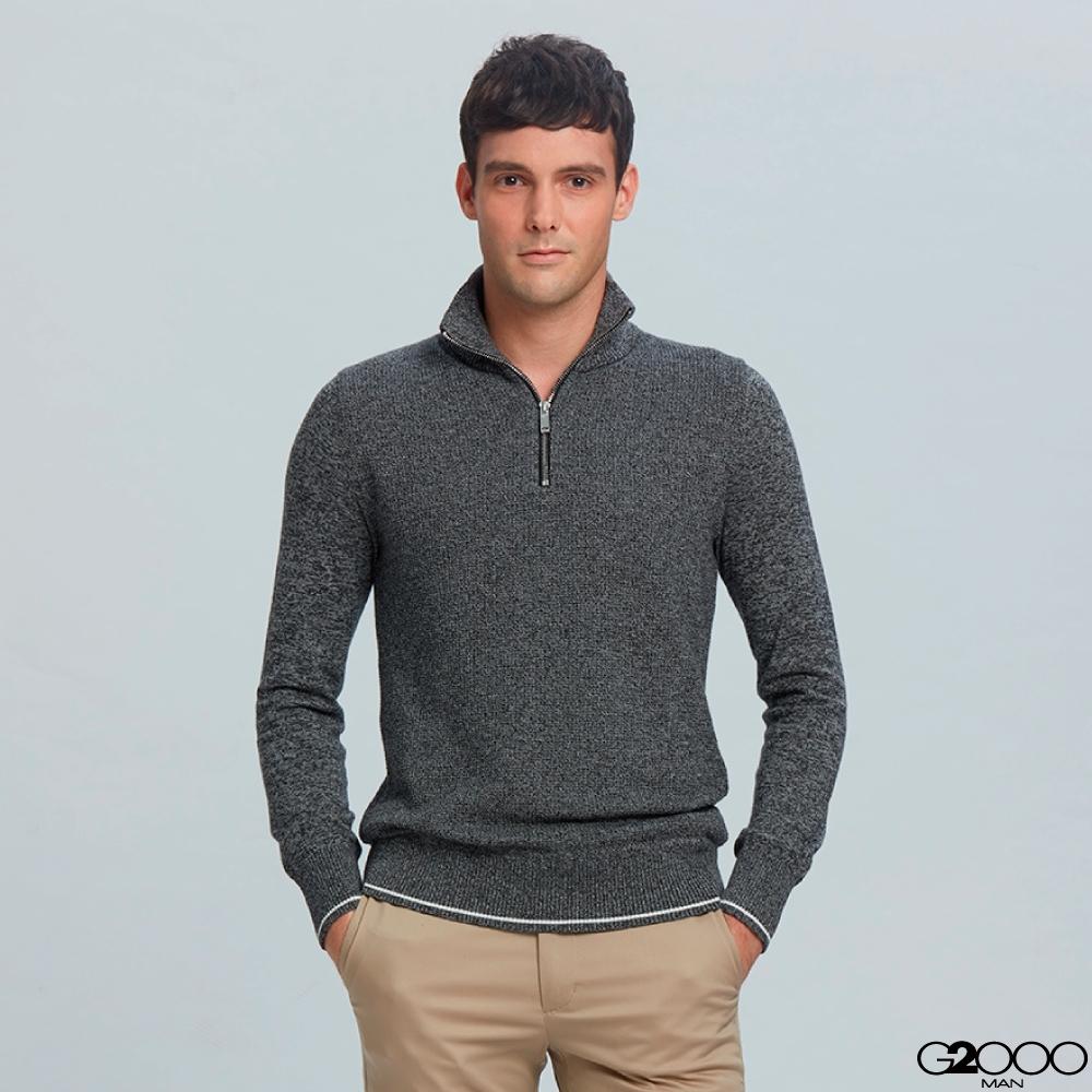 G2000拉鍊立領素面針織衫-深灰色