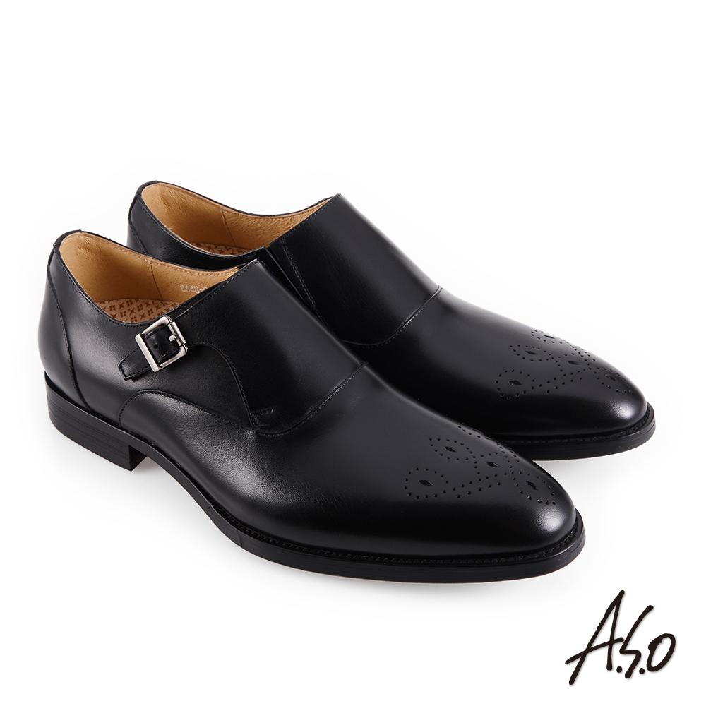 A.S.O職場通勤 零壓挺力雕花孟克紳士鞋-黑
