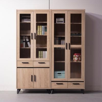直人木業-NORTH北美楓木160公分玻璃書櫃