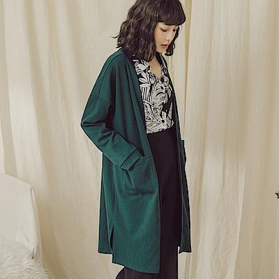 純色坑條長版開襟罩衫/外套-OB大尺碼