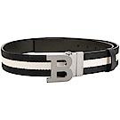 BALLY B BUCKLE 銀黑釦經典織紋雙面兩用皮帶(黑色)