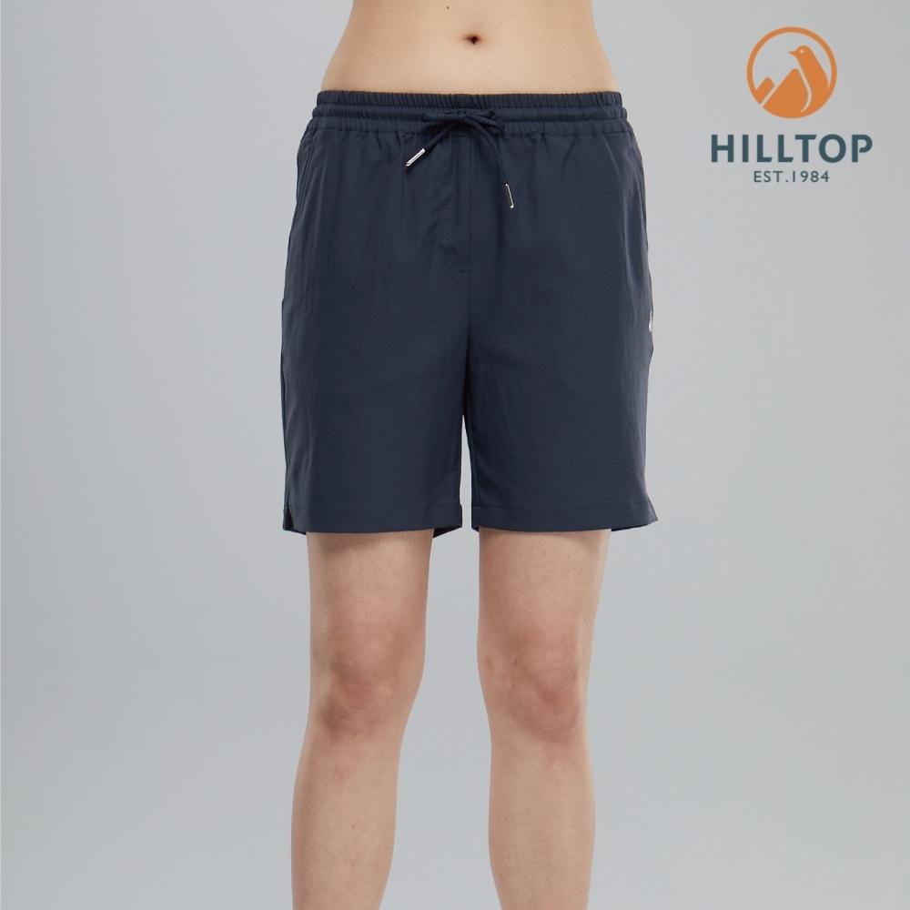 【hilltop山頂鳥】女款吸濕快乾彈性抗UV短褲S09F69藍夜