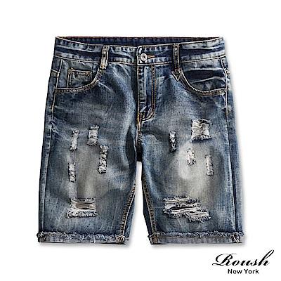 Roush 重度洗水厚磅刷破抽鬚牛仔短褲