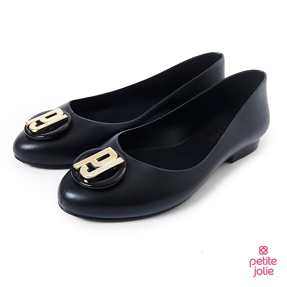 Petite Jolie--經典金屬LOGO娃娃鞋-黑色