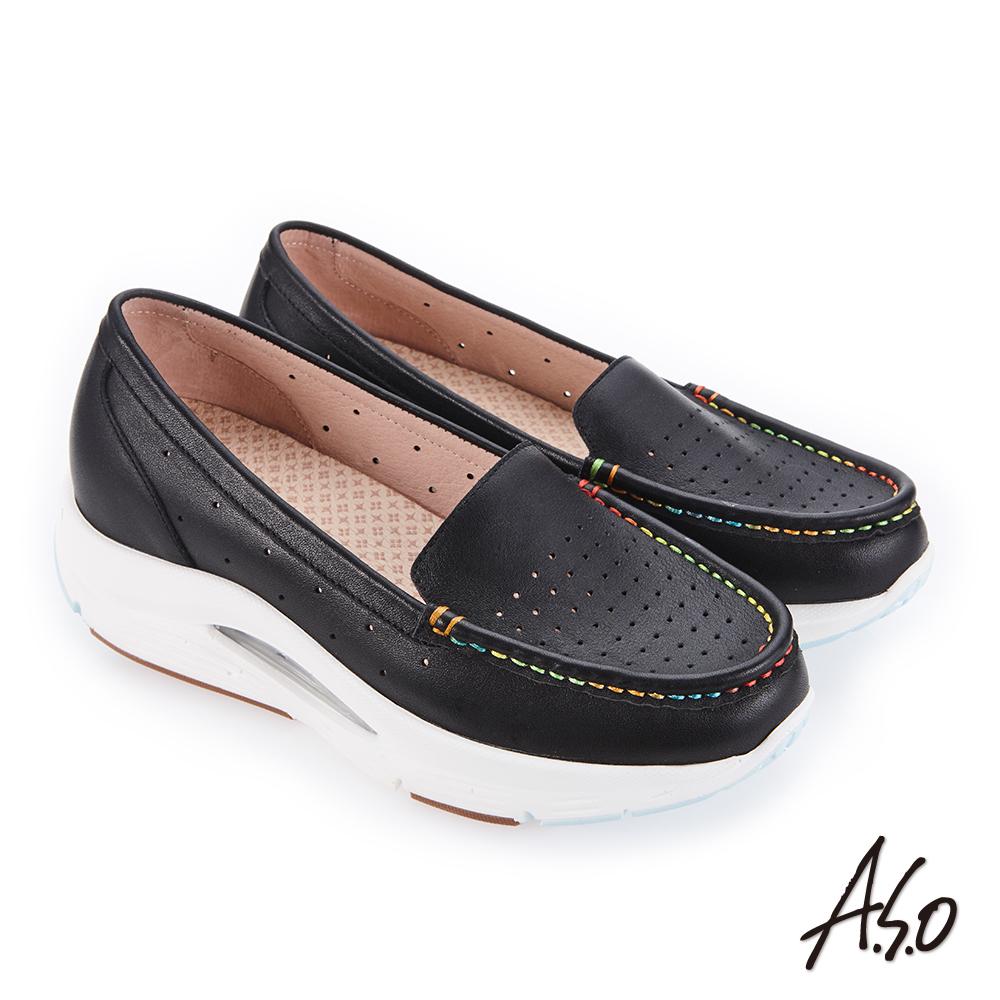 A.S.O 超能力氣墊系列 機能休閒鞋 黑