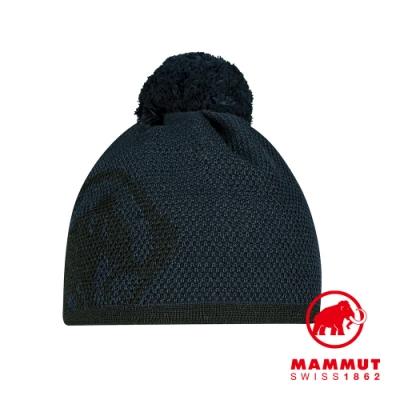 【Mammut 長毛象】Snow Beanie LOGO保暖針織毛球羊毛帽 海洋藍/黑 #1191-00101