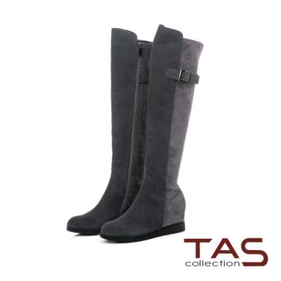 TAS前高後低牛麂皮後皮帶內增高過膝靴-質感灰